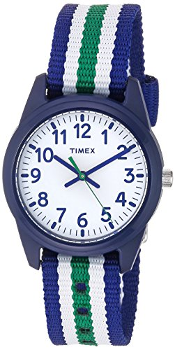 Timex Boys TW7C10000 Time Machines Blue/Green/White Stripes Nylon Strap Watch