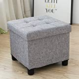 Ottoman Coffee Table with Stools Cassilia Foldable Storage Ottoman Square Cube Coffee Table Multipurpose Footrest Stool for Bedroom and Living Room Storage (Grey)