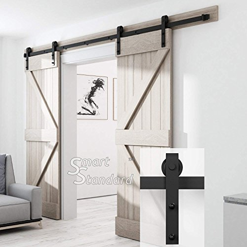"8ft Double Door Sliding Barn Door Hardware Kit -Smoothly and Quietly -Simple and Easy to Install -Includes Step-by-Step Installation Instruction -Single Rail - Fit 24"" Wide Door Panel (J Shape)"