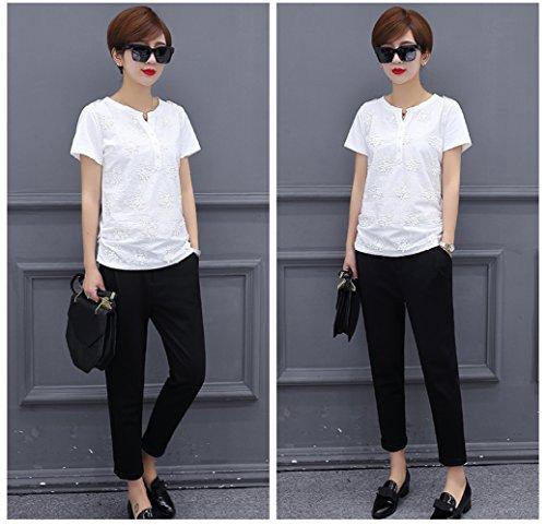 Shirt in solido donna joker T ricamo bianca Batman sciolto con shirt estate da T Top DYY corta semplice manica pizzo UPOqqw