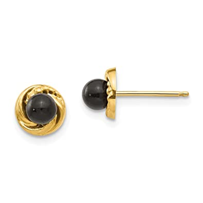 792240d56 Image Unavailable. Image not available for. Color: 14k Black Onyx Gold  Wreath Post Stud Earrings ...