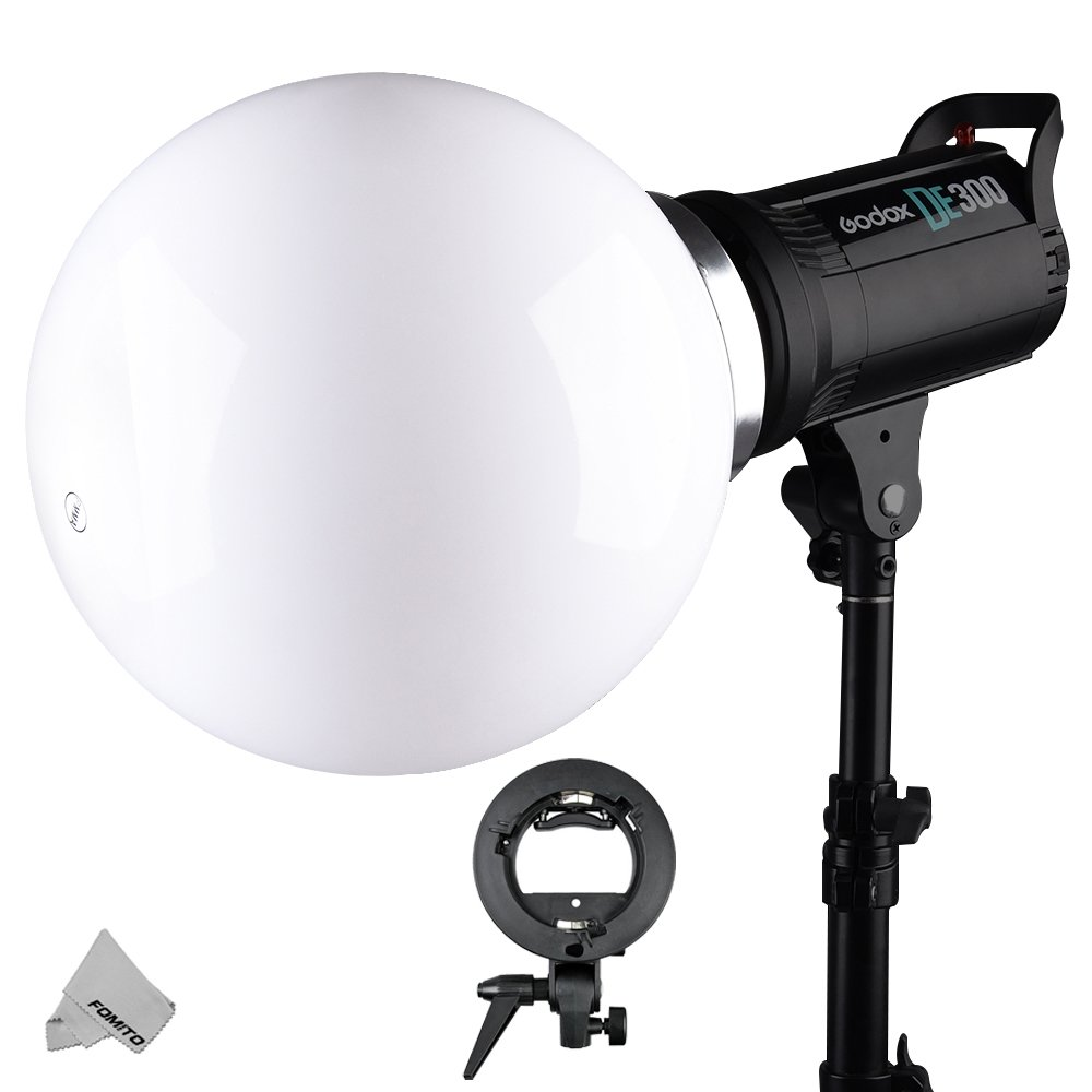 Spherical Flash Diffuser Ball (30cm) - with Bowens Mount + S-type Flash Bracket for Canon, Nikon, Yongnuo Flash Speedlite, Godox, Jinbei, Golden Eagle, U2, NiceFoto, Oubao, Dison Flash Monolight Head by Fomito