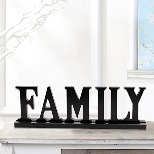 Family Sign for Home Decor, Wooden Family Block Letters Rustic Tabletop Words -