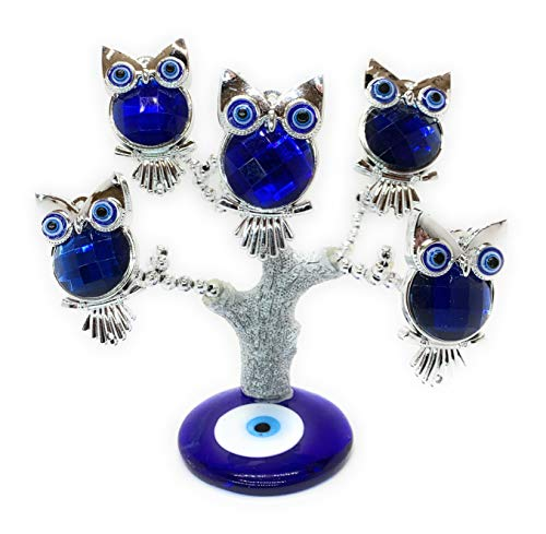 Lucky Evil Eye Money Fortune Tree for Protection, Blessing, Strength and Power. A Beautiful Ornament for Home Table or Office Desk, Great Gift (Silver/Owl) ()