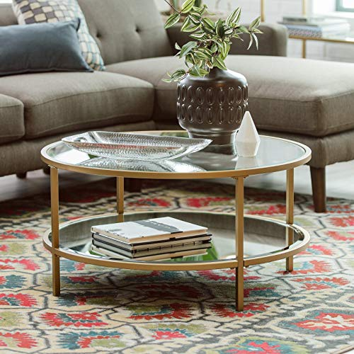 (Contemporary Bella Collection Gold Metal Glass Round Coffee Table With Shelf)