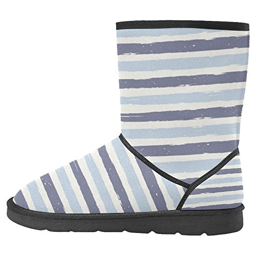 InterestPrint Womens Snow Boots Unique Designed Comfort Winter Boots Colorful Stripes Pattern Multi 1