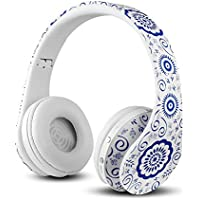 FX-Victoria Dual Mode Wireless Over-Ear Headphone Stereo Headset Lightweight Design, Compatible with iPods, iPhones, iPads, Smartphones, Tablets, PC and Laptops-White-Blue Floral Pattern