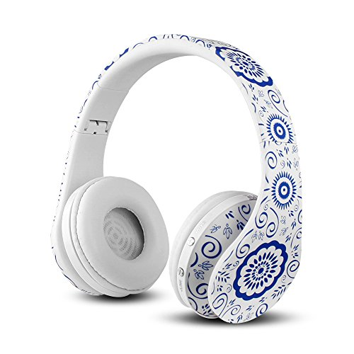 FX-Viktaria Dual Mode Wireless Over-Ear Headphone On Ear Headphone Stereo Headset Lightweight Design, Compatible with iPods, iPhones, iPads, Smartphones, Tablets, PC and Laptops-Blue Floral Pattern