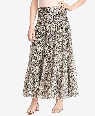 Lauren Ralph Lauren Womens Moriah Floral Print Ruffled Peasant, Boho Skirt