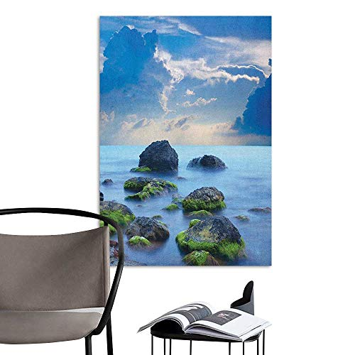 Wall Mural Wallpaper Stickers Beach Sea Stones on Mystic Seaside Caribbean Shore Photo Majestic Cloudscape Blue Pale Blue Green bar Cafe Poster W20 x H28 -