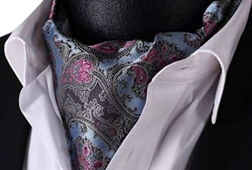 Allbebe Men's Blue Paisley Floral Silk Cravat Woven Ascot Hanky Handkerchief