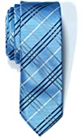 Retreez Tartan Plaid Check Styles Woven Microfiber Skinny Tie - Various Colors