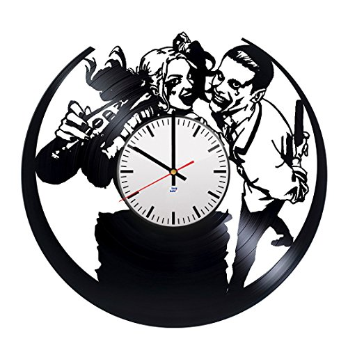 [Modern Vinyl Record Wall Clock With Joker Loves Harley Design - Unique Home Room Wall Decor - Original Gift Idea For Girls and Women - Exclusive DC Comics Fan Art] (Poison Ivy Costume Ideas Diy)