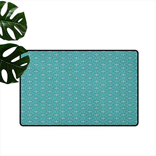 - RenteriaDecor Turquoise,Anti-Slip Doormat Moroccan in Geometric Rectangular Frames with Floral Arrangement 36