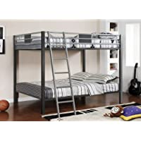 Furniture of America Metrolis Full-Over-Full Bunk Bed, Silver and Gun Metal Finish