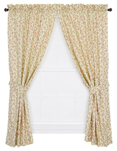 Ellis Curtain Marcia Floral Vine Print Tailored Panel Pair Curtains with Tiebacks, 68 by 84-Inch, Green ()