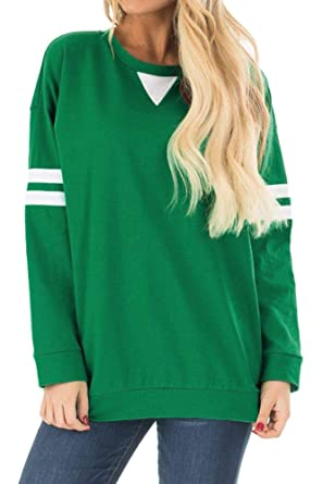 96217070 St Patrick's Day Women Long Sleeve Striped Sweatshirt Irish Green Baseball  Top S