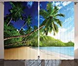 Ambesonne Tropical Decor Collection, Sunset on Beach Anse Takamaka of Mahe Island Seychelles Cloudscape Photography, Living Room Bedroom Curtain 2 Panels Set, 108 X 84 Inches, Blue Green Ivory