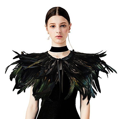 Homelix Gothic Black Natural Feather Cape Shawl with Choker Collar (Style ()