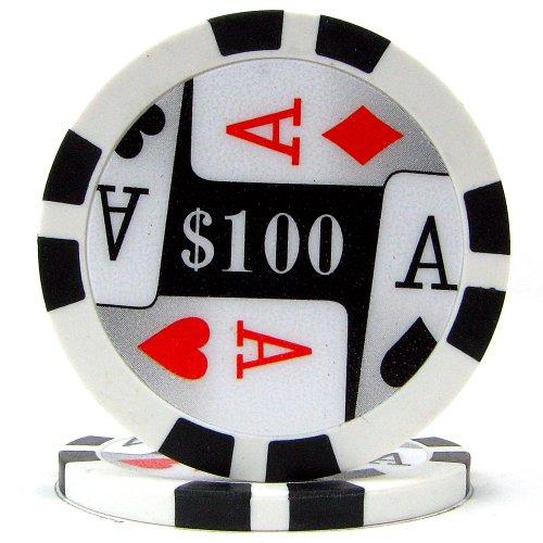 Trademark Poker Premium 4 Aces 100 Poker Chips (100-Piece), 11.5gm
