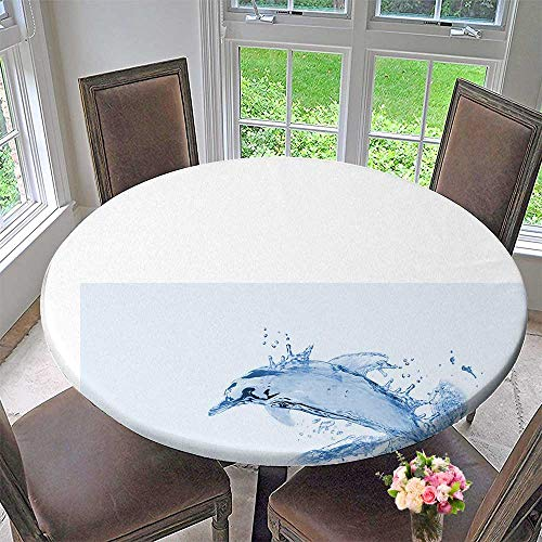 (Mikihome Round Tablecloth Sea Creatures Gathered by Spray for Kitchen 40