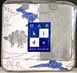 MAX STUDIO 3-pc DINOSAURS FULL/QUEEN Quilt Set - Navy Blue Gray White (set includes 2 shams)