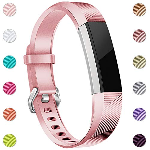 Maledan Replacement Bands Compatible for Fitbit Alta, Alta HR and Fitbit Ace, Newest Accessories Wristbands Sport Strap with Secure Metal Buckle for Fitbit Alta HR/Alta/Ace, Large, Rose Gold from Maledan