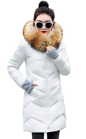 Leeharu Manteau Femme Long Veste à Capuche Hoodie Jacket Blouson Slim Parka Doudoune Automne Hiver Chaud Fourrure Faux Elegant