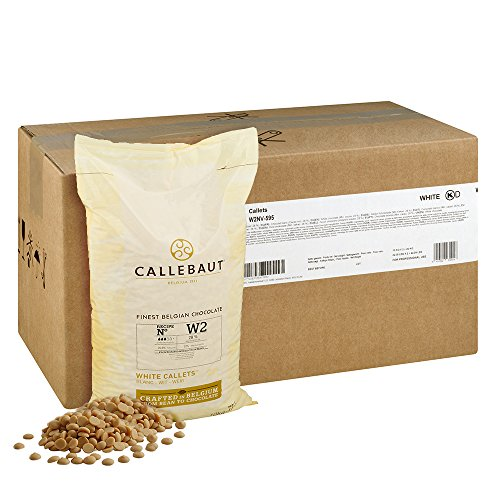 Callebaut White Belgian Baking Chocolate Callets - 29.5% Cocoa Butter, 6.3% Milk Fat, 16.7% Milk - Good For Cakes, Baking Chocolate, Mousse, Truffle & Fillings - 2 Bags 44 lbs (10Kg)