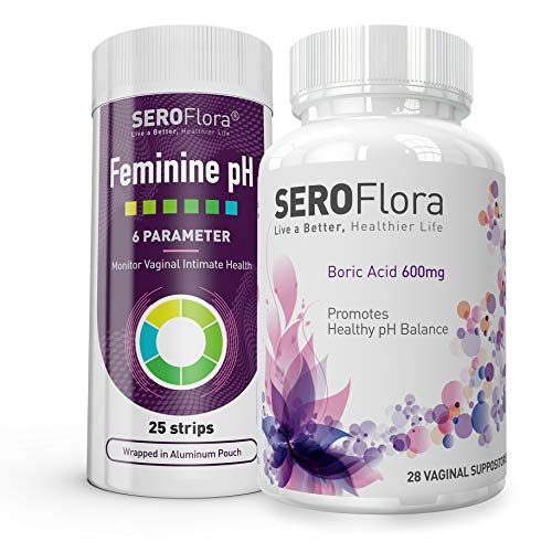 Seroflora Boric Acid Suppositories 600mg (28 Count) + Feminine pH Test  Strips (25 Strips) Helps Monitor Vaginal Intimate Health - Accurate and  Easy to