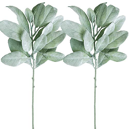Supla 6 Pcs Artificial Flocked Lambs Ear Leaf Spray in Silver Green Artificial Greenery Holiday Greens Christmas Greenery Wedding Bouquet Artificial Plants Green Leaf Floral Arrangement