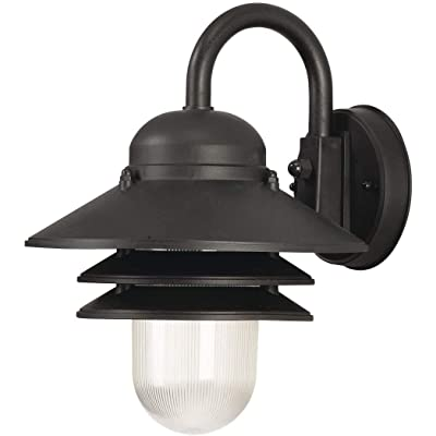 """Solus S75VC-LE26W-BK Nautical Wall Mount Light with 3000K Energy Star LED Lamp, Durable & Clear Prismatic Acrylic Lens, Fade & Rust Resistant, UL Listed for Wet Locations, 13"""" H x 10 1/16"""" W, Black"""