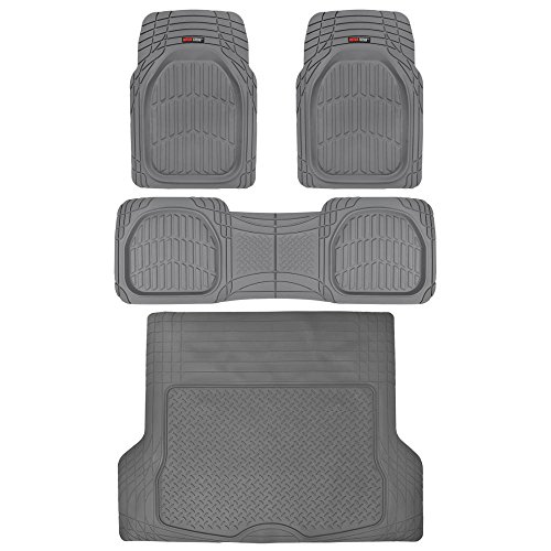 4pc Gray Car Floor Mats Set Rubber Tortoise Liners w/ Large Cargo Trunk Liner for Auto SUV Trucks ()