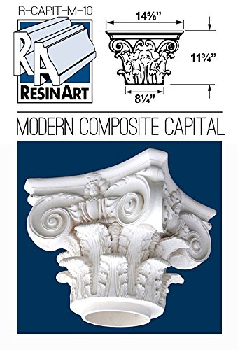 Modern Composite Capital for Hollow Column - L Size - Composite Resin - Unfinished - Paint Ready - Load Bearing - Dimensions In Images/Details by Resinart East, Inc