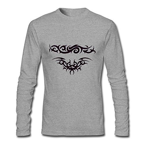 Tribal Tattoo T-shirt (WAWPU Men's Cool Tribal Tattoo Graphic Long Sleeve T-Shirt sizekey)