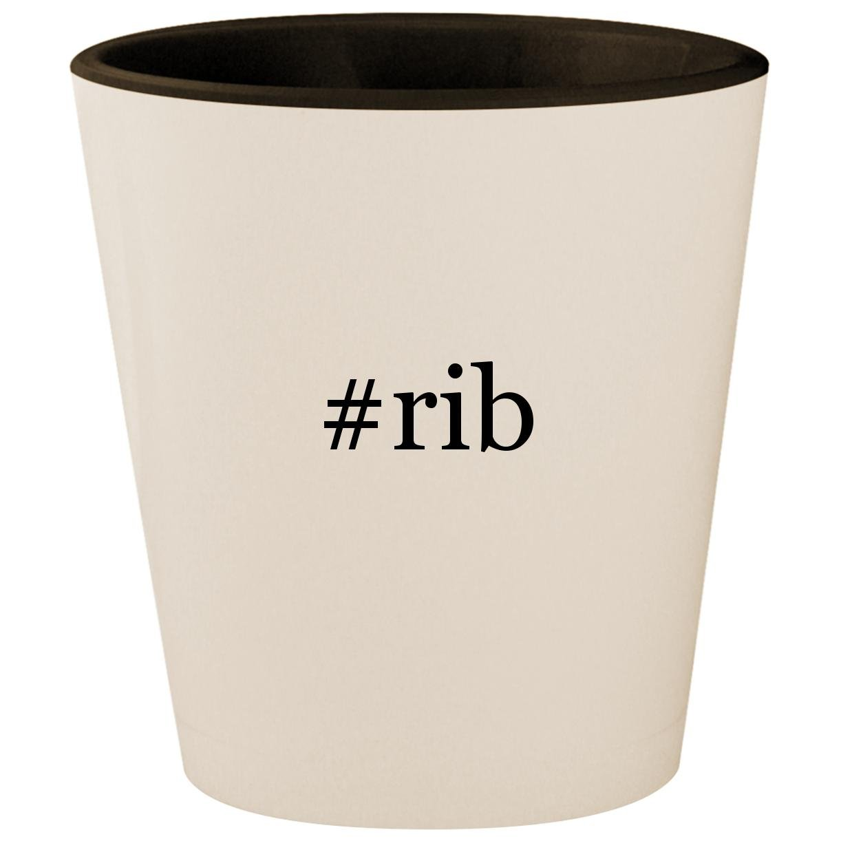 #rib - Hashtag White Outer & Black Inner Ceramic 1.5oz Shot Glass