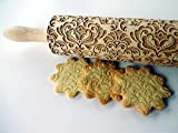 DAMASK rolling pin. Embossed cookies with flowers....