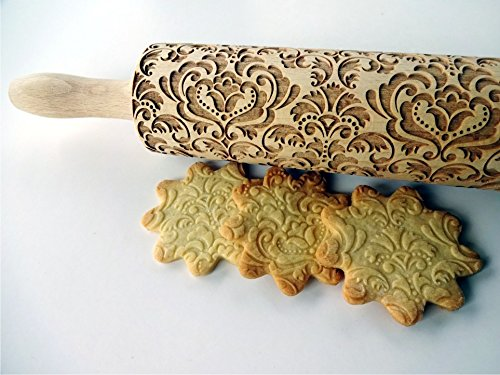 DAMASK rolling pin. Embossed cookies with flowers. Damask pattern. Wooden embossing rolling pin with Oriental flowers