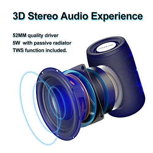 Mini Portable Bluetooth Speakers Zealot S32 TWS Wireless Speaker IPX5 Waterproof Upto 12H Playtime MIC HD Calls/Micro SD Card/U Disk/Line-in Modes Competible for iOS Andriod -Black