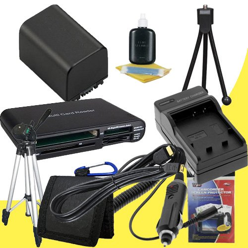 NP-FV100 Lithium Ion Replacement Battery w/Charger + Mini HDMI + Tripod + Memory Card Reader/Wallet + Deluxe Starter Kit for Sony NEXVG10, NEXVG20 Interchangeable Lens HD Handycam Camcorder DavisMAX Accessory Bundle