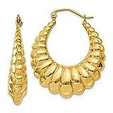 14K Yellow Gold 6.00MM Scalloped Shrimp Hoop Earrings
