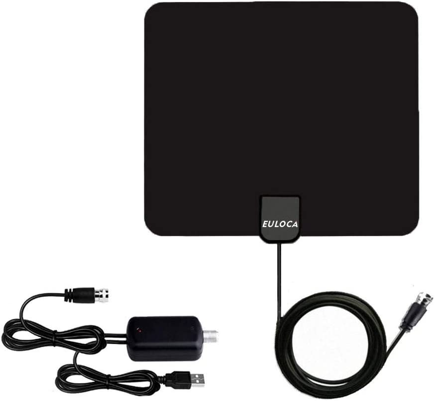 TV Antenna, [2019 Newest] Indoor Digital HDTV Amplified Antennas Freeview 4K 1080P HD VHF UHF for Local Channels 50-80 Miles Range with Amplifier Signal Amplifier Support All TV's-16.4ft/5M Coax Cable