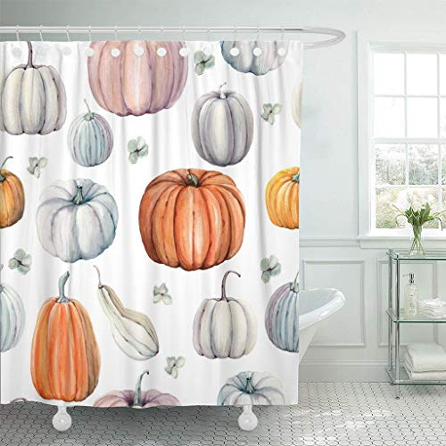 Emvency Fabric Shower Curtain with Hooks Autumn Watercolor Pumpkins It is Perfect for Thanksgiving Halloween Design Recipe Food 72