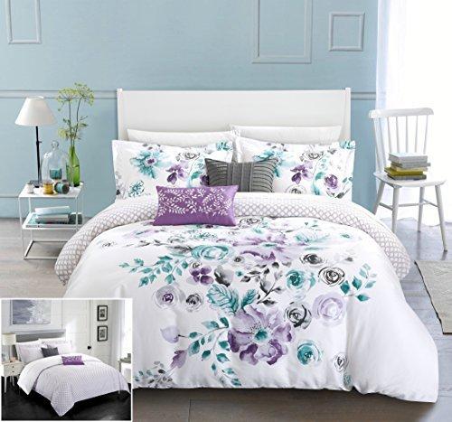 Chic Home 5 Piece Belleville Garden Reversible Floral Print and Geometric Patterned Technique King Comforter Set ()