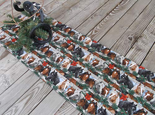 Christmas Corral Horse Quilted Fabric Table Runner or Sideboard Runner 41 inches