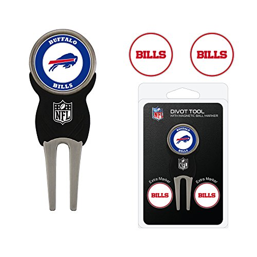 Team Golf NFL Buffalo Bills Divot Tool with 3 Golf Ball Markers Pack, Markers are Removable Magnetic Double-Sided Enamel