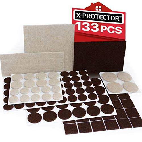 X-PROTECTOR Premium Two Colors Pack Furniture Pads 133 Piece! Felt Pads Furniture Feet Brown 106 + Beige 27 Various Sizes - Best Wood Floor Protectors. Protect Your Hardwood & Laminate Flooring (Best Place For Used Furniture)