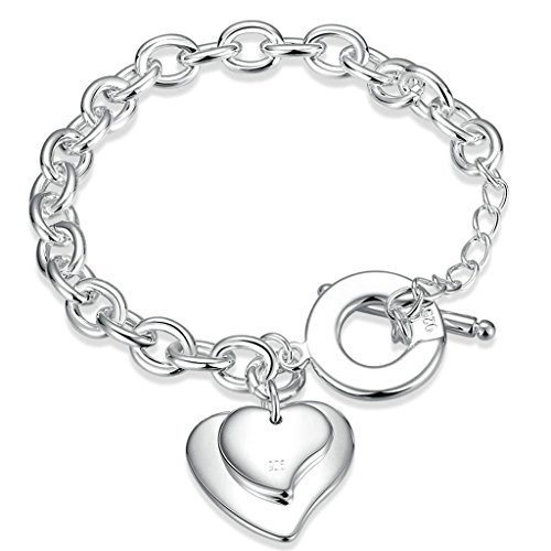 Bishilin Silver Plated Plain Double Heart Tag Bracelets Link Charms with Toggle (Double Heart Tag Bracelet)