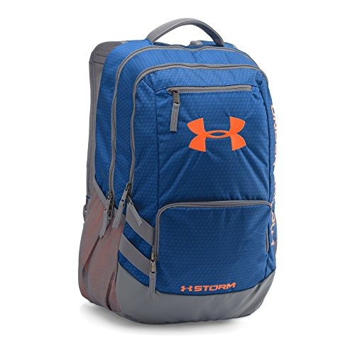 (Under Armour Hustle 2.0 Backpack, Royal (402)/Blaze Orange, One Size)