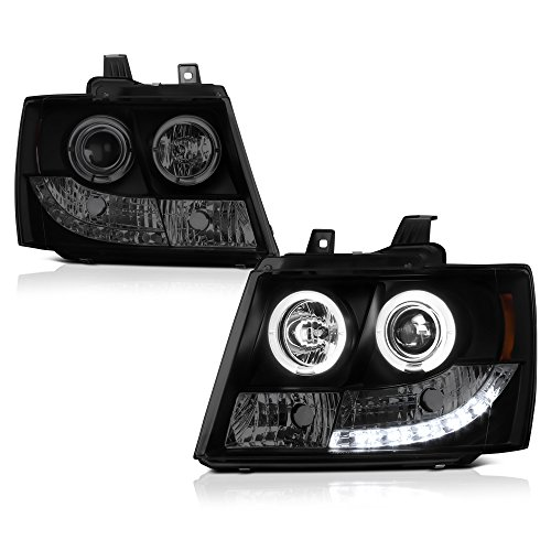[For 2007-2014 Chevy Avalanche Tahoe Suburban 1500 2500] LED Halo Ring Black Smoke Projector Headlight Headlamp Assembly, Driver & Passenger Side